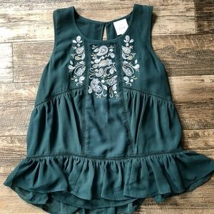 Emerald Embroidered Tank Top